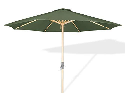 LANTERFANT – Sonnenschirm Lucas, 300 cm, Holz Rahmen, UV 30+, Handkurbel, Erhältlich in fünf Farben, Grün, Moosgrün