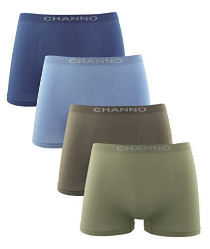 Channo Calzoncillos Boxer Niño Sin Costuras Infantil Licra Liso Elástico Microfibra. Pack de 4