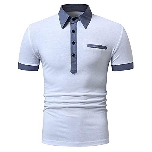 Camisa Polo Hombre Manga Corta Solapa Ajuste Regular Shirt Hombre Casual Verano Negocios Camiseta Hombre Estilo Urbano Moderno Tops Hombre Clásica Tapeta Botones Polo Shirt Hombre