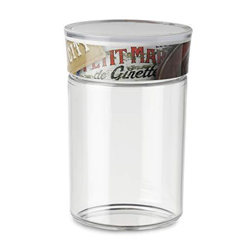 Omada Design Dose für die Küche von 1 L aus Kunststoff mit luftdicht verschlossenen Behälter, mit einer Dichtung. Das ist ein Behälter für Salz, Zucker, Made in Italy, Linea Plexart, Vintage Signs