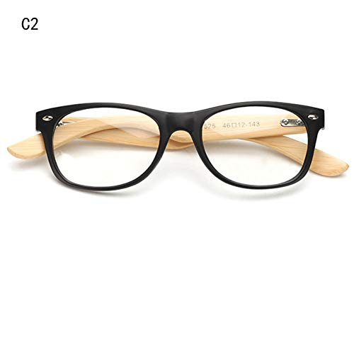 FHXTWB Sonnenbrille Retro Rivet Frame Brillen Männer Frauen Bambus HolzoptikBrillengestellMit Linse