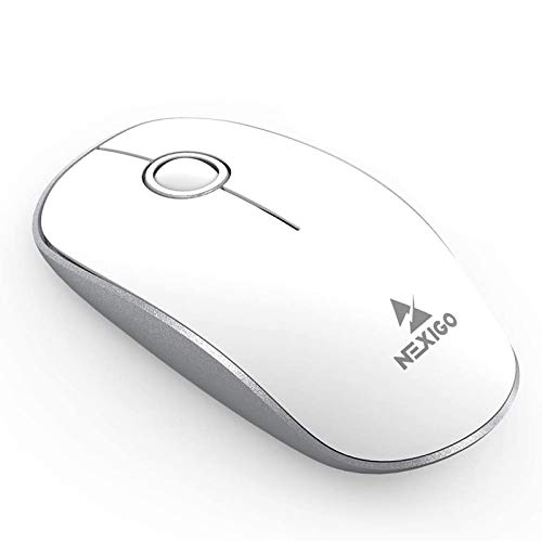 NexiGo Wireless Mouse, Ultra-Slim Office Mouse with Built-in USB Receiver, Battery Charing Wireless Travel Mice for Windows, OS System, Mac, PC, Laptop, Computer (White)