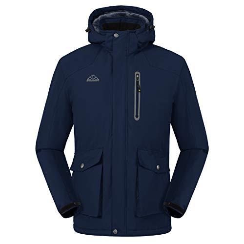 Donhobo - Giacca da sci da uomo con calda imbottitura in pile, giacca invernale spessa, giacca a vento da uomo, giacca softshell, giacca funzionale con cappuccio rimovibile Blu marino XL