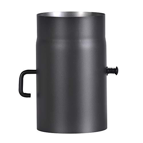 FIREFIX R150/2D Ofenrohr aus 2 mm starken Stahl (Rauchrohr) in 150 mm Durchmesser, für Kaminöfen und Feuerstellen, Senotherm, schwarz, 250 mm lang mit Regulierklappe
