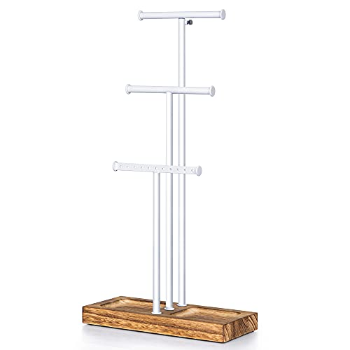 Love-KANKEI Jewelry Tree Stand White Metal and Wood Basic Large Storage Necklaces Bracelets Earrings Holder Organizer Jewelry Display White and Carbonized Black