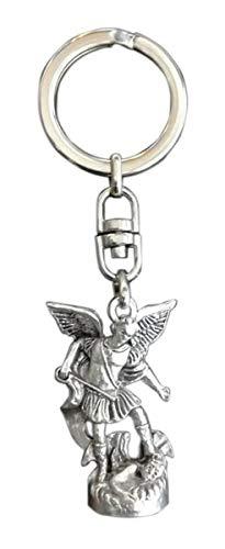 Eurofusioni Portachiavi Statuina San Michele Arcangelo placcata Argento - Statuetta h 3,7 cm