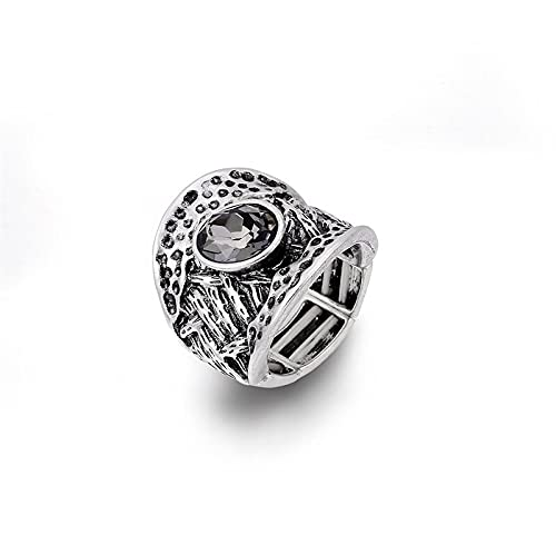 haimai Anillo de mujer exagerado retro naturaleza Shell anillo para mujer elegante color antiguo ovalado tamaño único elástico ajustable (color de piedra principal: anillo gótico)
