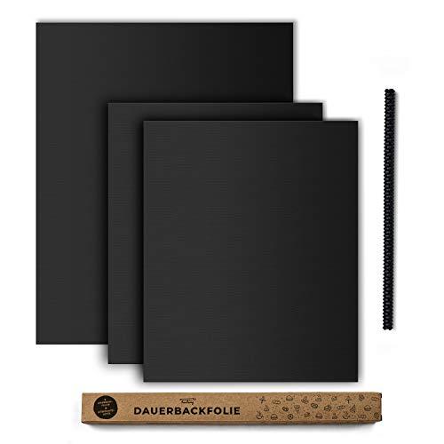 tastory® - Schwarze hochwertige Dauerbackfolie für Backofen (3er Set) 40x33cm & XXL 50x40cm & Hitzeschutzleiste - Backpapier wiederverwendbar, Backmatte spülmaschinenfest, Backfolie zuschneidbar