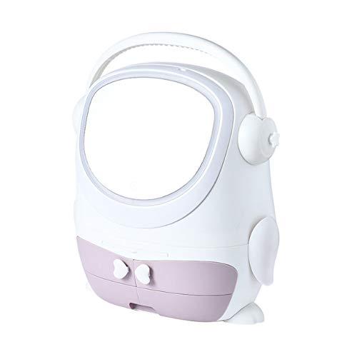 XYZMDJ LED-Make-up-Spiegel mit Kosmetik-Aufbewahrungsbox mit Licht-Kosmetikbox, tragbar, staubdicht, große Aufbewahrungsbox (Farbe: A)