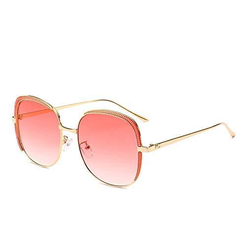 LAMZH Gafas de Sol de Marco Cuadrado Grande de Moda de Gafas de Sol. UV Protección de Pesca para Exteriores Accesorios de decoración genérica (Color : Red)