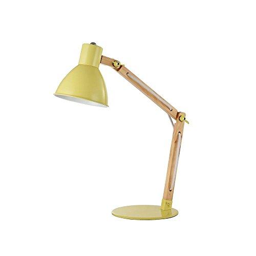 Moderne flexible Tischlampe, 1-flammig gelbes Metall, Holz, exkl. E14 60W 220V-240V