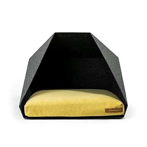 R Exproduct Pocket - Caseta para perros de tela ecológica de PET, resistente a los arañazos, gris oscuro y amarillo (60 x 45 x 63 cm)