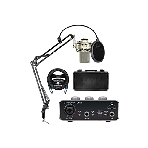 MXL 990 Condenser Microphone for Acoustic Instruments and Vocals Bundle with Behringer U-PHORIA UM2 USB Audio Interface for Windows and Mac, Blucoil Boom Arm Plus Pop Filter, and 10' XLR Cable