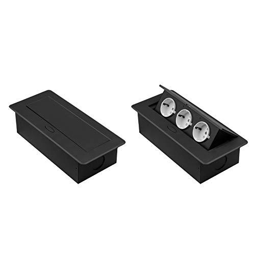 Einbausteckdose versenkbar mit oder ohne USB und in 2 Farben Silber oder Schwarz zum Auswählen (3x Schuko, Schwarz)