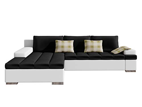 Design Ecksofa Bangkok, Moderne Eckcouch mit Schlaffunktion und Bettkasten, Ecksofa für Wohnzimmer Gästezimmer Couch L-Form Wohnlandschaft (Ecksofa Links, Soft 017 + Magic Velvet 2219 + Senegal 809)