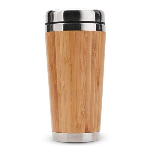 sweetrl Taza de café de bambú de acero inoxidable taza de viaje con cubierta a prueba de fugas aislada café acompañante taza reutilizable