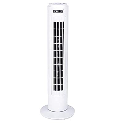 "AMOS 29"" Tower Fan with 3 Speeds and 2-Hour Timer Free-Standing Oscillating Electric Home Office Air Cooling"
