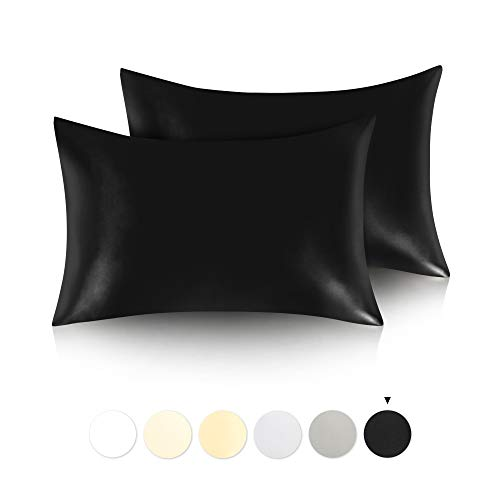 JINAMART Silky Satin Pillowcase King Satin Pillow Cases for Hair and Skin   2 Pack   Hypoallergenic Pillows Case with Hidden Zipper Closure Color   Black 36#039#039x20#039#039