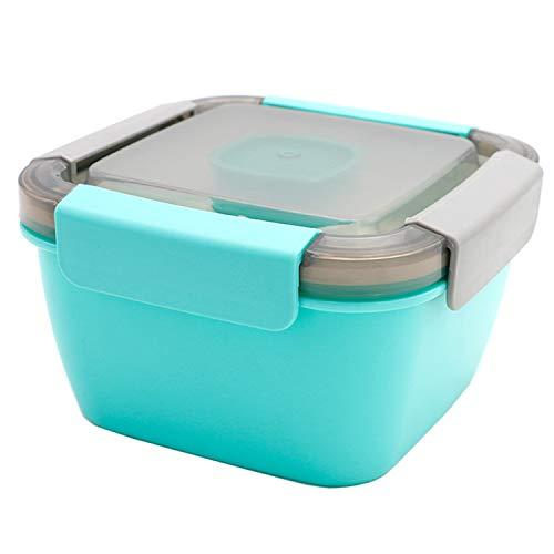 Camisin Ensaladera para ensalada de 55 onzas, bandeja dividida de 3 partes, con recipiente de aderezo y reutilizable (azul2)