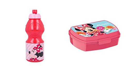 ALMACENESADAN 2664; Set Vuelta al Cole Disney Minnie Mouse; Compuesto por sandwichera Rectangular (Dimensiones Interiores 16,5x11,5x5,5 cm) y Botella Sport 400 ml; Producto de plástico; No BPA