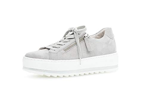 Gabor Damen Sneaker, Frauen Low-Top Sneaker,Comfort-Mehrweite,Reißverschluss,Optifit- Wechselfußbett, schnürschuh Lady,Light Grey,39 EU / 6 UK