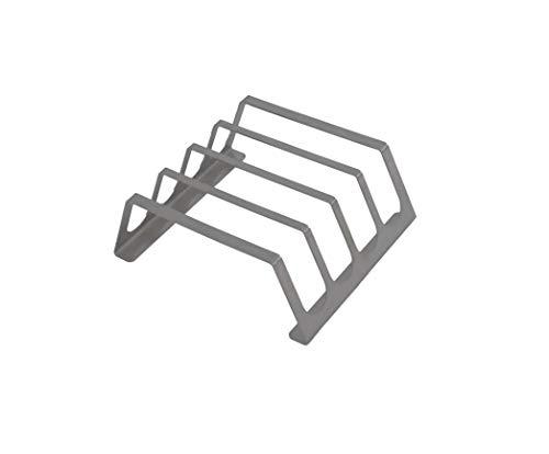 tradeNX Rippchenhalter aus reinem Edelstahl – BBQ Spareribs Halter für 4 Rippchen – Praktisches Grillzubehör für Profis – 18 x 20 cm