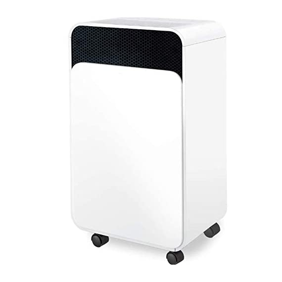 WQSFD 30Pint Dehumidifiers 4 Gallons/Day Intelligent Humidity Control for Space Up to 1000 Sq Ft for Home Basements… 1 30 Pints Dehumidifier: With removal capacity of up to 30 pints of water per day (under 90% RH @ 95°F condition), this energy-efficient dehumidifier is ideal to dehumidify damp rooms up to 1056 sq ft, like attics, basements, bathrooms, laundry room, garages, and even campers or RV. Easy-to-use Dehumidifier: With a built-in humidistat, this smart dehumidifier will AUTO-STOP when set humidity level has been met and AUTO-RESTART when room humidity goes up again. The switchable fan speed add flexibility and the programmable 24H ON/OFF improves energy savings. User-friendly Drainage Options: This small dehumidifier will auto shut off when the 4-Pint (0.5 Gal.) water reservoir is full and audibly alert you to empty it. Too busy to empty it manually? This dehumidifier with drain hose (6.56-ft) allows you to simply attach the hose to achieve self-draining by gravity.