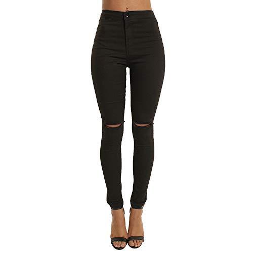 Ansenesna Hose Damen High Waist Stretch Skinny Elegant Freizeithosen Frauen Slim Fit Elastische Hosen (M, Schwarz Löcher)