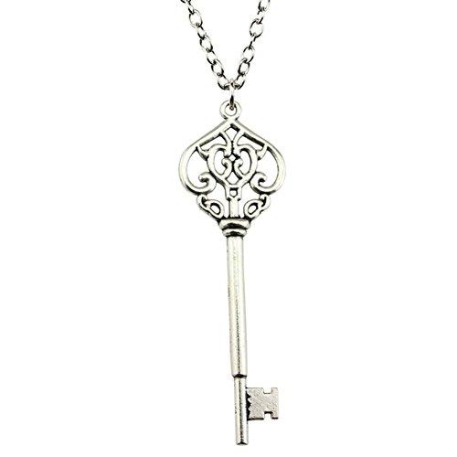 ODETOJOY 1PC Metal Antique Silver Key to Her Heart Pendant Petite Skeleton Sweater Key Necklace for Women,70cm Chain