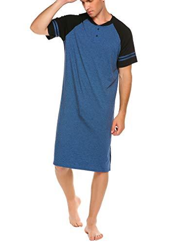 Meaneor Männer Herrennachthemd Sommer Nachthemd Einteiliger Schlafanzug Nachthemden Für Herren Nachtwäsche Schlafkleid Kurzarm Nachthemden Sleepshirt Blau XL