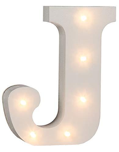 """Lettere dell'alfabeto e segno """"&"""" a LED, in legno dipinto bianco, funzionamento a batteria  LED lettera J"""