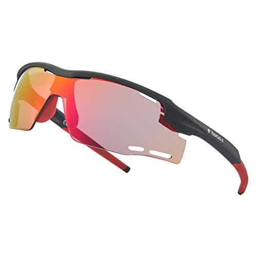 Horus X - Gafas de sol deportivas - Gafas de sol con protección UV400 - Gafas de sol deportivas para ciclismo y para correr al aire libre - Hombre y Mujer - L