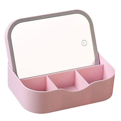 Mnjin Badezimmerspiegel Led Leucht Multifunktions Aufbewahrungsbox Desktop HD Student Mädchen...