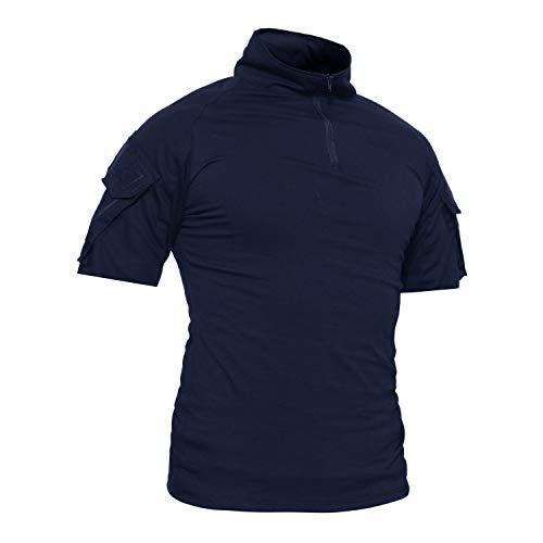 TACVASEN Armée Homme Chemise Manche Longue Militaire Tactique Combat t-Shirts,Bleu Marine ,XXL (Taille Fabricant:4XL)