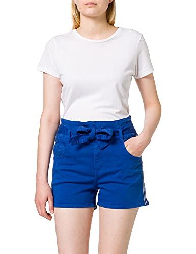 Morgan Short ceinturé Bande côté Lurex 211-SHARKY Pantalones Cortos de Vestir, Azul...