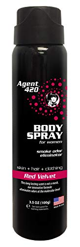 Agent 420 Daily Fragrance Body Spray - Long Lasting, Breaks Down and Destroys Smoke Odor at The Molecular Level - Eliminates Odors from Hair, Body and Clothes - 3.5 oz Spray (1 Pack, Red Velvet)