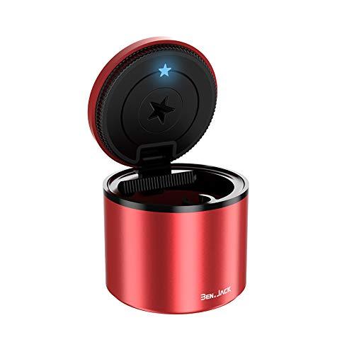 Cenicero de coche para exterior con tapa, de aluminio, con soporte, hermético, resistente al olor, USB, pequeño (7 cm de diámetro), color rojo