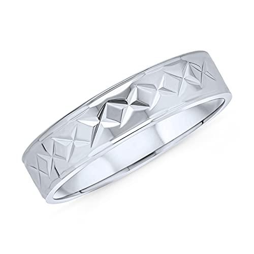 Personalizar personalizado grabado elegante unisex parejas diamante corte & alijo a rayas patrón de banda de boda anillo para hombres mujeres pulido brillante final .925 plata de ley 5MM