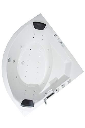 Whirlpool Badewanne Eckbadewanne - Borkum Premium 2 Personen Made in Germany Whirlwanne Indoor NEU (155x155x62 cm)