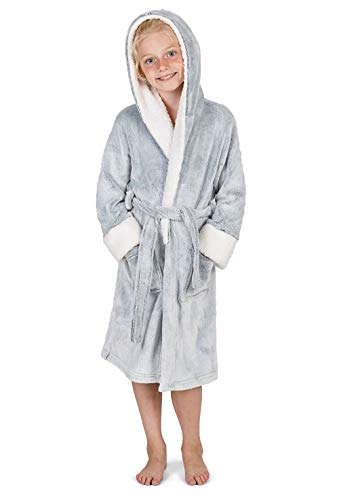 CityComfort Kids Dressing Gown | Hooded Super Soft Bathrobe for Boys, Girls | Children Dressing Gowns in Unicorn, Mermaid, Pink, Grey, Purple, Cat | Unicorn Gifts (9/10 Years, Two Tone Grey)