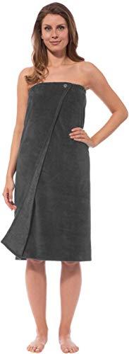 Morgenstern Saunakilt Damen Saunatuch grau 90 cm lang Saunahandtuch zum Knöpfen mit Gummizug Frauen Baumwolle Microfaser Viskose