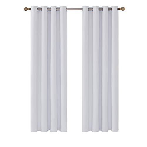 Deconovo Cortinas de Salón Termicas Aislantes Frio y Calor para Ventanas con Ojales 2 Piezas 132 x 214 cm Gris Blanco