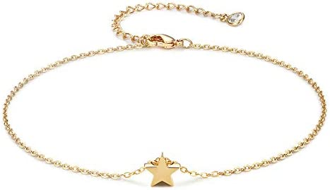 Gold Star Charm Anklet 14K Gold Plated Boho Beach Dainty Cute Tiny Lucky Star Foot Chain Minimalist product image