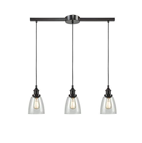 EUL Industrial Kitchen Island Lighting Glass Pendant Chandelier Lighting Fixture Oil Rubbed Bronze-3 Lights
