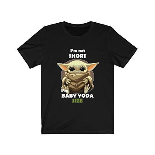 Star Wars in Crib The Mandalorian Baby Yoda I'm Not Short I'm Baby Yoda Unisex T-Shirt (Black, XL)