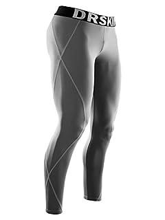 DRSKIN Men's Compression Cool Dry Sports Tights Pants Baselayer Running Workout Active Leggings Yoga Rashguard (XL, DG03) Gray (B00ORIGWXA)   Amazon price tracker / tracking, Amazon price history charts, Amazon price watches, Amazon price drop alerts