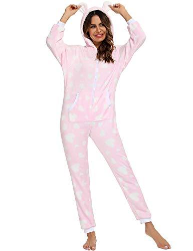 Orshoy Kuscheliger Jumpsuit Sweat Overall Ganzkörperanzug Xmas Jumpsuit Einteiler Schlafanzug Rosa & Herzen XL
