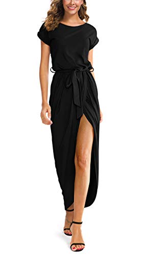 GRECERELLE Women's Short Sleeve Summer Dresses Elastic Waist Slit Casual Long Maxi Dress with Belt Black-Small