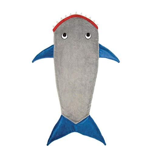 LIZCX Sacos De Dormir De Tiburón Manta De Animales De Colas De Tiburón De Felpa Suave Y Cómoda para Niños Y Niñas De 4 A 6 Años Gris Azul