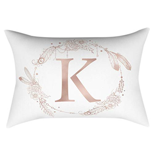 CHIHUOBANG 30x50cm Polyester Peach Velvet Rectangle Throw Pillowcases, Rose Gold Alphabet Letter Wreath Feather Printed Cushion Covers For Home Sofa Car Decor